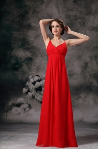 Red Empire Straps Floor-length Chiffon Maxi Dresses