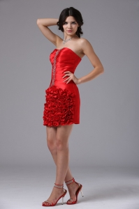 Red Nightclub/Graduation Dress Mini-length Taffeta Beading