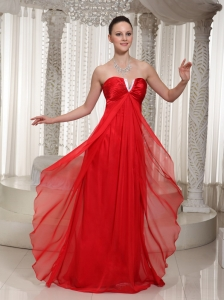 Red Little V-neck Chiffon Evening Dresses