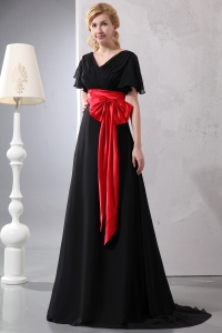 Chiffon Taffeta Prom/Maxi Dress Red and Black V-neck Short Sleeves