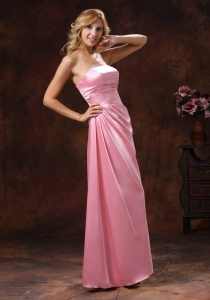 Rose Pink Bridesmaid Dress Elastic Woven Satin Strapless Ruch