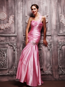 Pink Mermaid Evening Gown One Shoulder Taffeta Beading Ruch