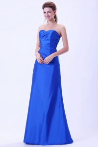Royal Blue Bridemaid Dress Sweetheart Lace-up Ruch