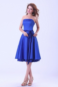 Royal Blue Bridemaid Dress Strapless With Satin Sash Tea-length