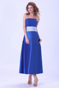 Royal Blue Bridemaid Dress Taffeta Light Blue Sash Tea-length