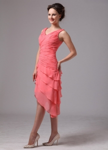 Bridesmaid Dress Watermelon Red Ruched V-neck