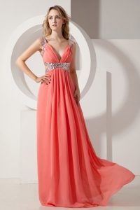 Sequins Chiffon Pageant Celebrity Dress Rust Red Empire V-neck