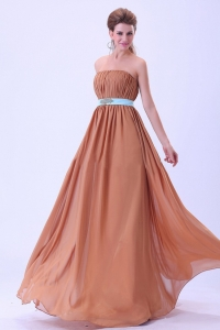 Rust Red Prom Dress Ruched with Blue Belt Chiffon Floor-length
