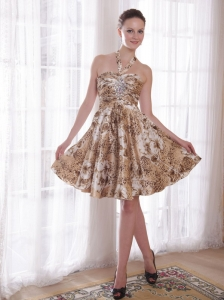 Printed Nightclub/Homecoming Dress Halter Knee-length Beading