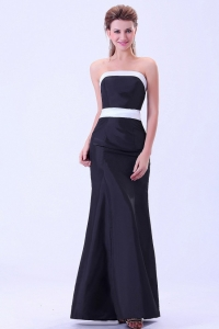 Black Evening Dress With White Belt Ankle-length