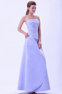 Lilac Bridemaid Dress Spaghetti Straps A-line Satin Ruch