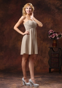 Spaghetti Straps Bridesmaid Dress Grey Mini-length Chiffon