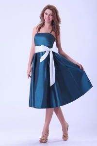 Taffeta Spaghetti Straps Prom Dress Peacock Green White Sash