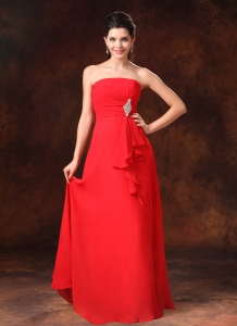 Red Empire Chiffon Bridesmaid dresses Beading