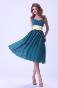 Peacock Green Straps Prom / Homecoming Dress Chiffon Knee-length