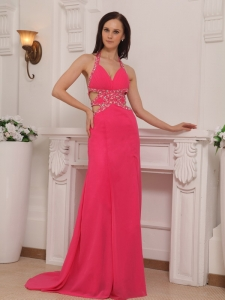 Hot Pink Column Halter Chiffon Beading Prom Pageant Dress