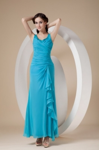 Turquoise Chiffon Bridesmaid Dress Straps Ankle-length Sheath