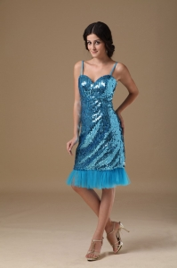 Sequin Nightclub/Homecoming Dress Teal Straps Knee-length Column