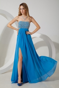 Chiffon Pageant Celebrity Dress Teal Empire Strapless Beading Slit