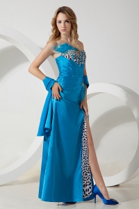 Taffeta Leopard Teal Pageant Celebrity Dress Sweetheart Beading