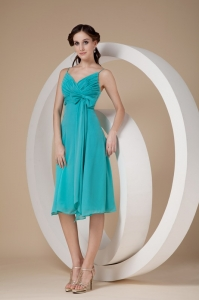 Turquoise Bridesmaid Dress Spaghetti Straps Knee-length Chiffon