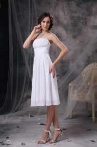 White Ruched Bridesmaid Dress Strapless Knee-length Chiffon