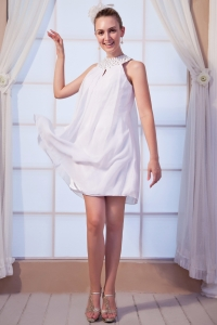 High-neck Prom/Maxi Dress White Empire Mini-length Beading
