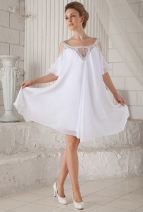 White Off The Shoulder Maxi/Celebrity Dress Chiffon Beading