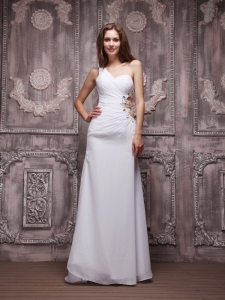 White One Shoulder Ruch Beading Pageant Evening Dress