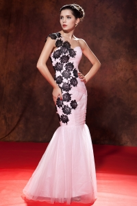 One Shoulder Prom Pageant Dress Baby Pink Embroidery Mermaid