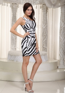 White and Black Nightclub/Cocktail Dress One Shoulder Mini-length