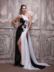 White and Black Empire One Shoulder Pageant Evening Dress