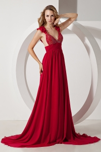 Brush Train Prom/Maxi Dress Wine Red Chiffon Beading Straps