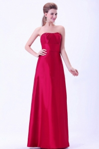 Wine Red Bridemaid Dress Taffeta A-line Floor-length