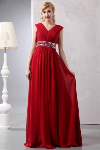 Beading Prom/Maxi Dress Wine Red V-neck Empire Ruched