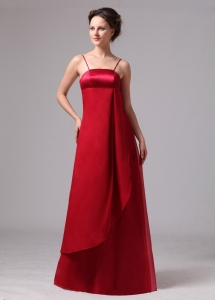 Wine Red Bridesmaid Dress Spaghetti Straps Satin and Chiffon