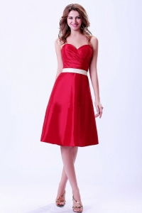 Wine Red Bridemaid Dress With White Belt Knee-length
