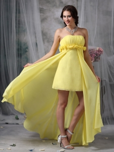 Yellow Strapless High-low Chiffon Maxi Dresses