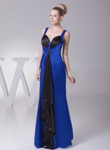 Blue and Black Beaded Straps Mother of The Bride Dress
