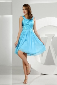 Baby Blue Prom Dress Knee-length A-Line Straps Chiffon Ruched