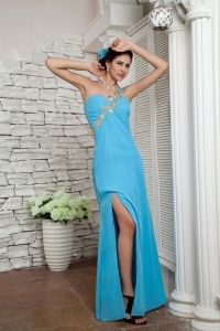 Aqua Blue One Shoulder Chiffon Appliques Celebrity Dress