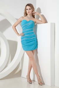 Aqua Nightclub/Homecoming Dress Silver Beads Zigzaged Ruches