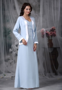 Baby Blue Square Chiffon Appliques Mother of Bride Dress