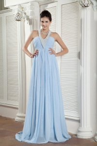 Light Blue Pageant Evening Dress Halter Brush Train Beading