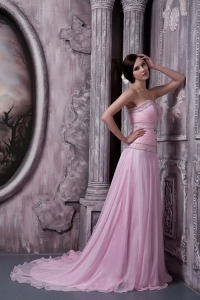 Court Train Pageant Dress Baby Pink Sweetheart Chiffon Beading