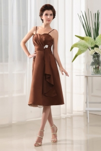Spaghatti Straps Brown Chiffon Bridesmaid dress Tea-length Brooch