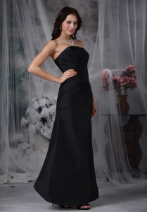 Black Ruched Bridesmaid Dress Strapless Ankle-length A-line