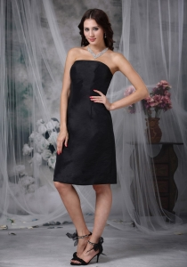 Ruched Black Bridesmaid Dress Knee-length A-line Satin Strapless