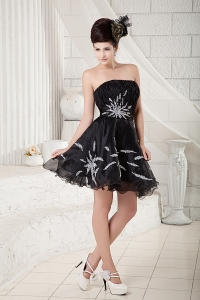 Mini-length Little Black/Homecoming Dress Strapless Beading