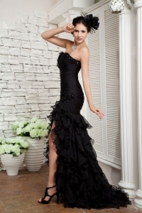 Black Slit Pageant Celebrity Dress Organza Ruffled Brush Train